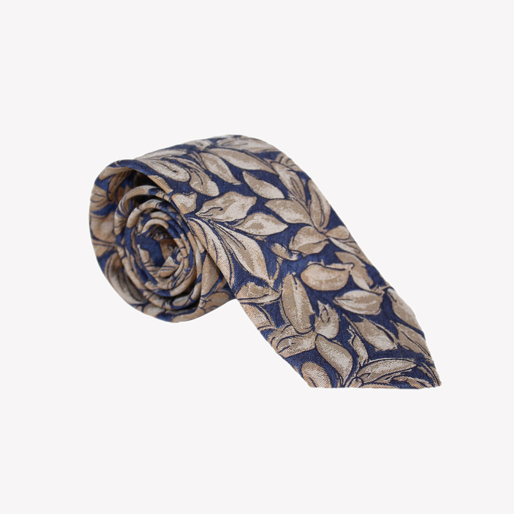 Blue with Light Brown Leaves Tie