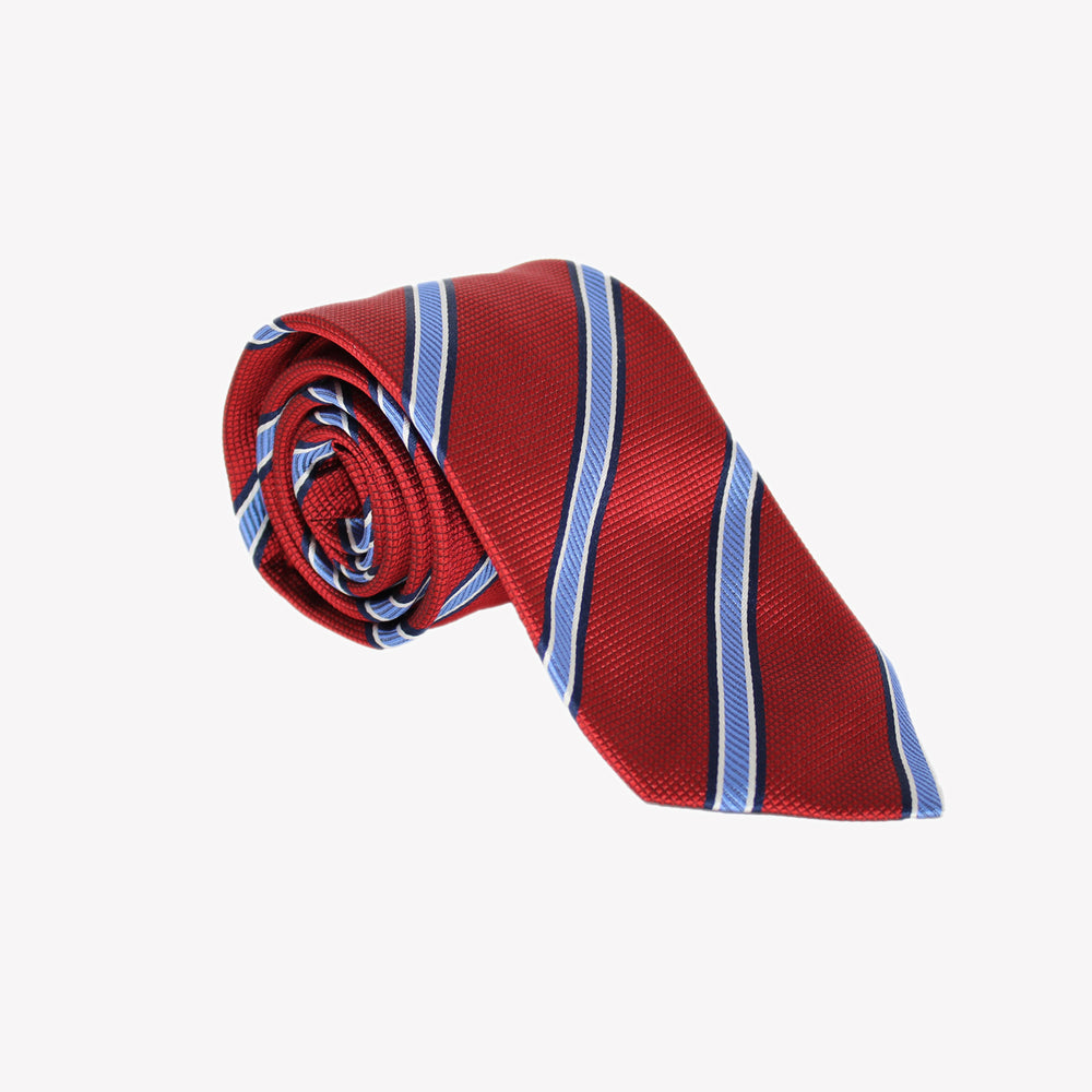 Red with Light Blue Stripes Tie