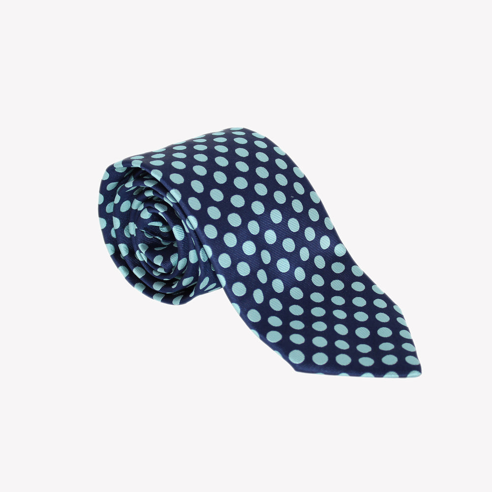 Navy with Light Blue Polka Dots Tie