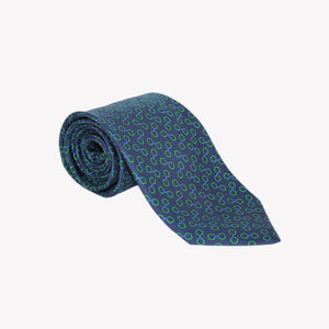 Navy with Lime Green Circles Printed Tie