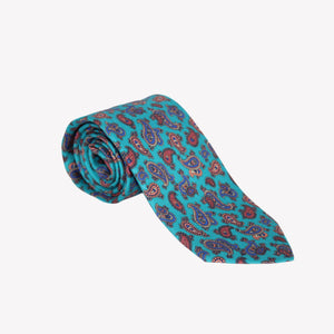 Aqua with Paisley Printed Tie