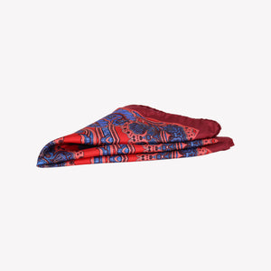 Red with Blue Pocket Square
