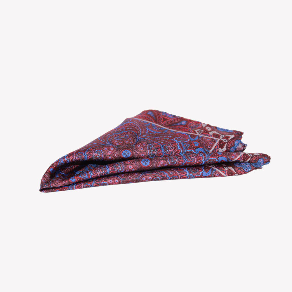 Burgundy and Blue Pocket Square