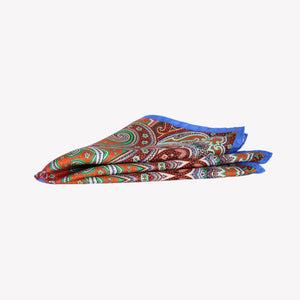 Orange, Light Green and Blue Pocket Square