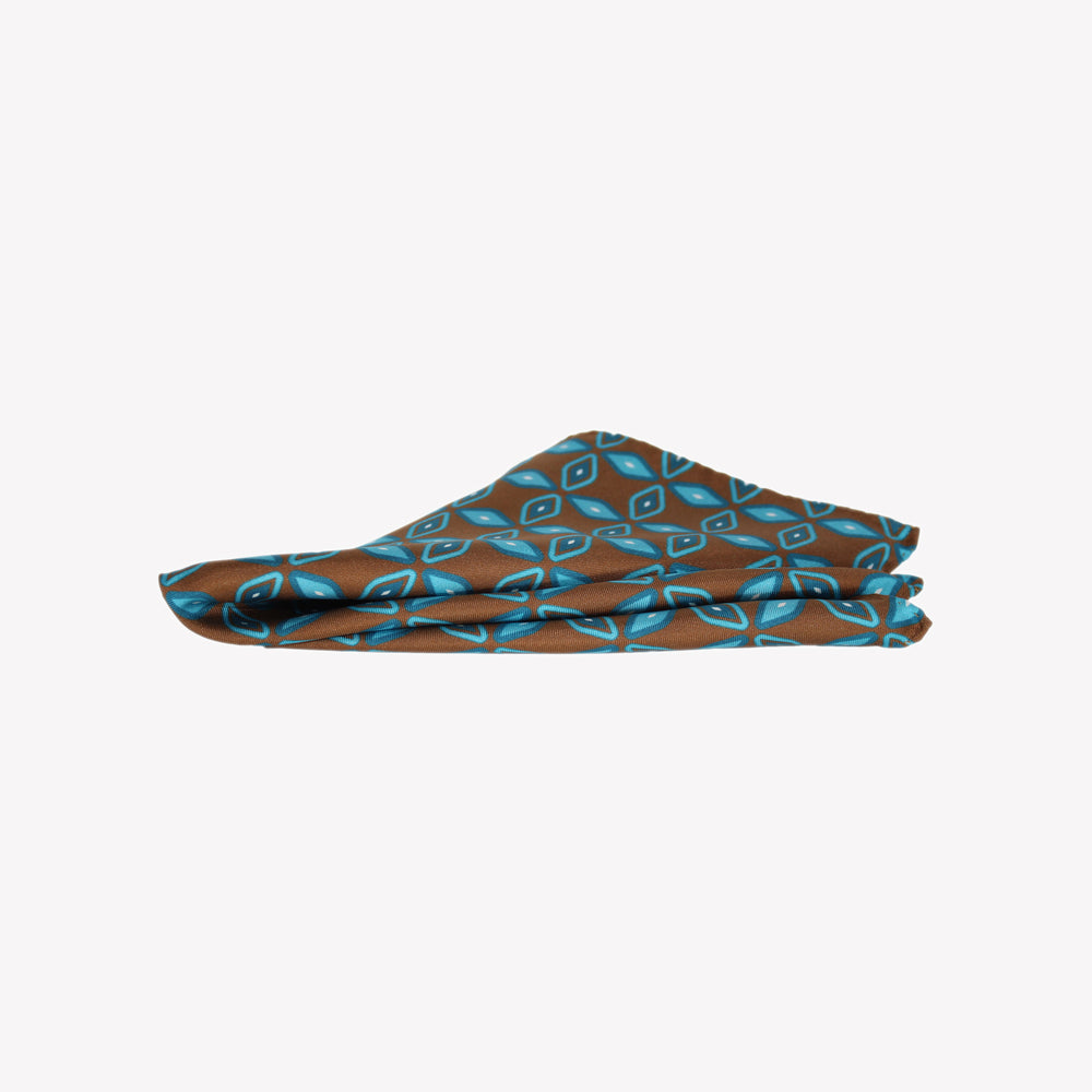 Brown and Aqua Pocket Square
