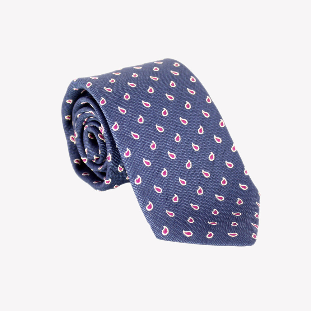 Navy with Red Paisley Tie