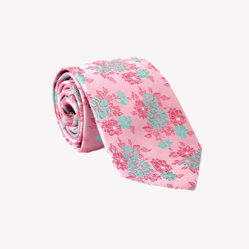 Light Pink with Aqua Green and Pink Flowers Tie