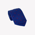 Blue with Red Flowers Tie