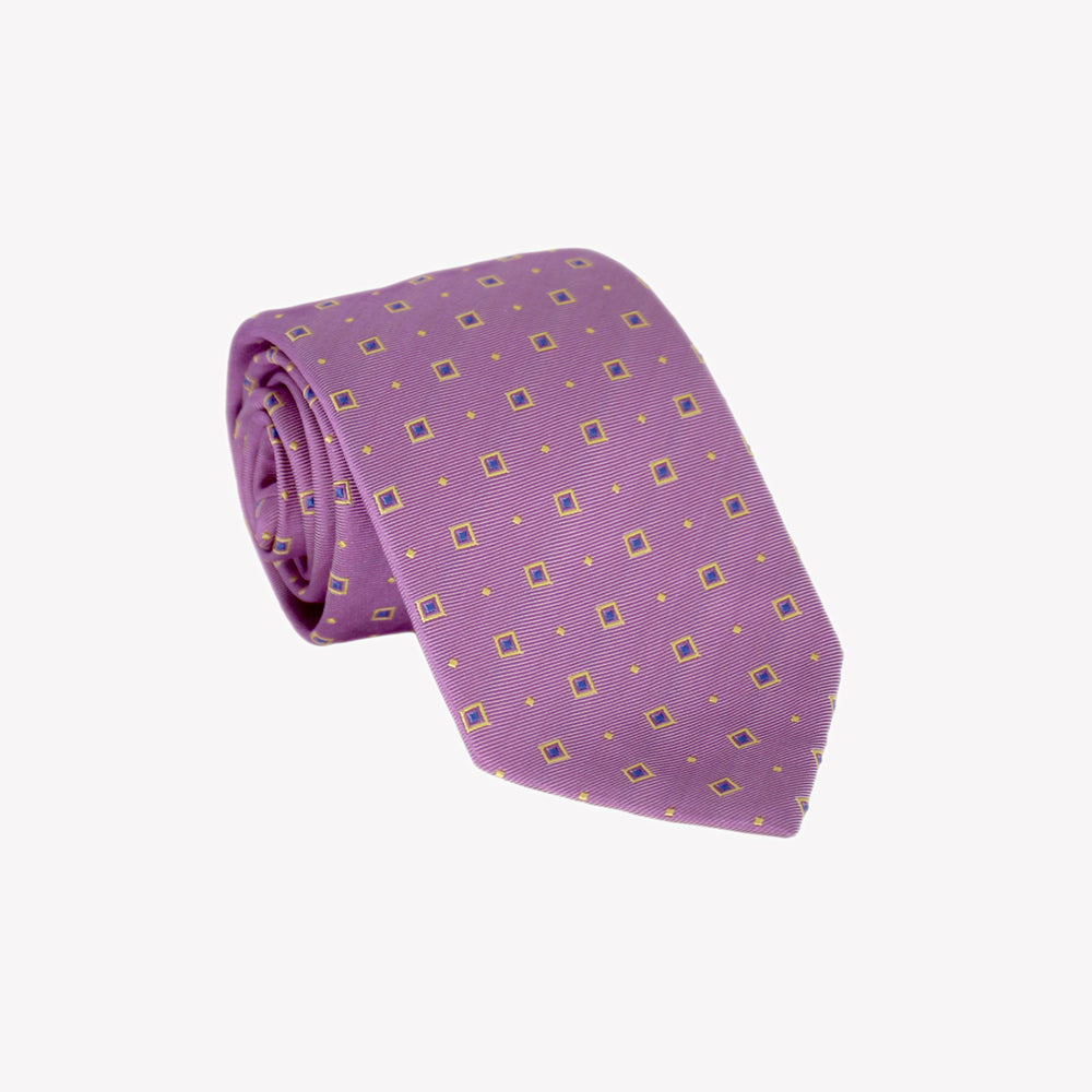 Purple with Yellow Squares Tie