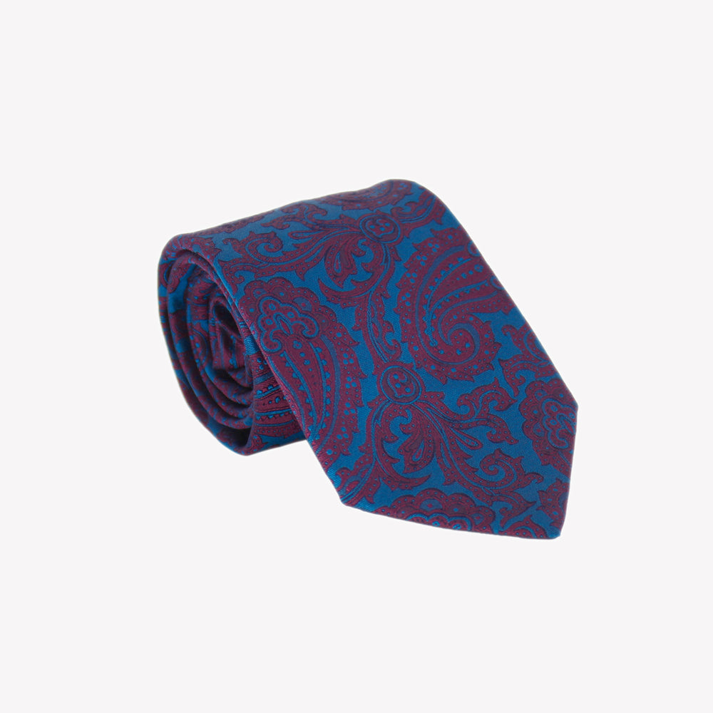 Blue with Burgundy Paisley Tie