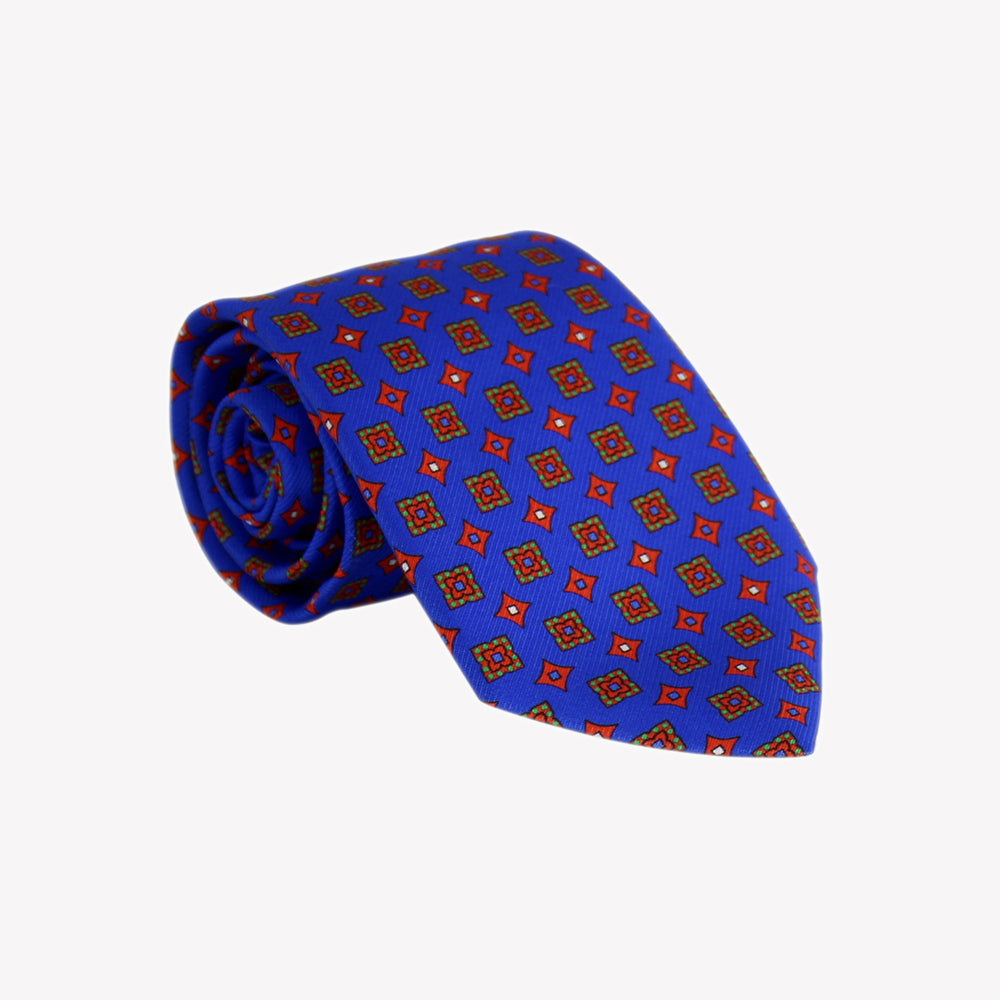 Blue with Red Squares and Diamond Tie