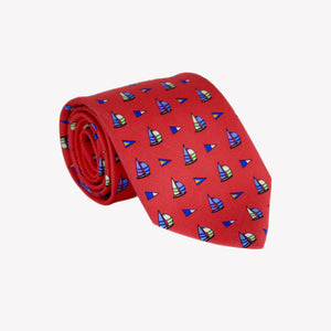 Red with Sail Boats Tie