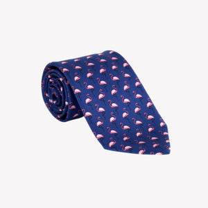Navy with Pink Flamingos Tie