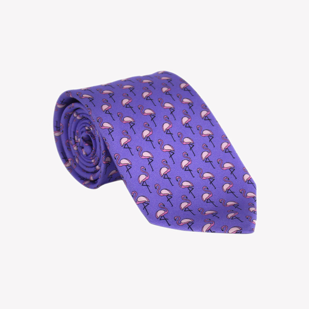 Purple with Pink Flamingos Tie