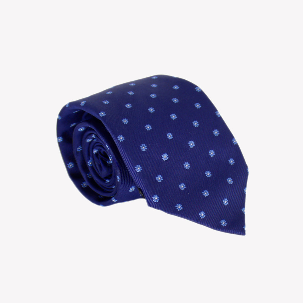Dark  Blue with Circle Flowers Tie