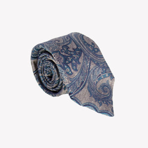 Brown with Blue Paisley Tie