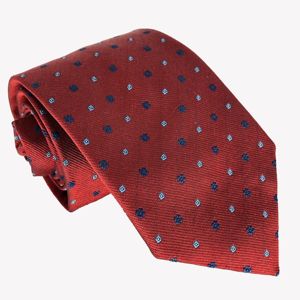 Red Tie Dotted with Blue Squares