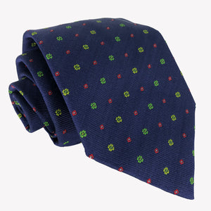 Navy Blue Tie Dotted with Red and Green Details