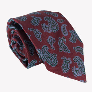 Burgundy with Blue Paisley Print Tie