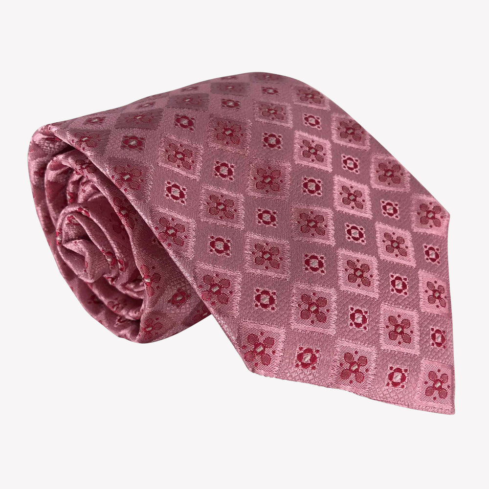 Pink Diamond Patterned Tie