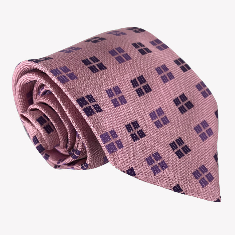 Pink with Purple Windows Patterned Tie