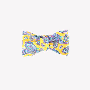 Yellow with Blue Paisley Bowtie