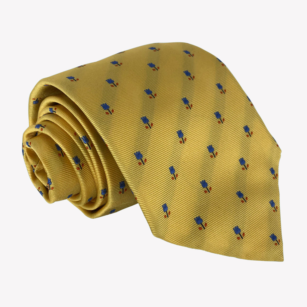 Yellow Tie with Royal Blue Flower Detail