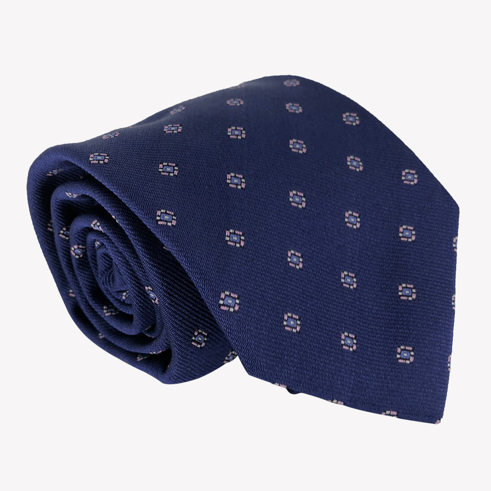 Patterned Navy Blue Tie