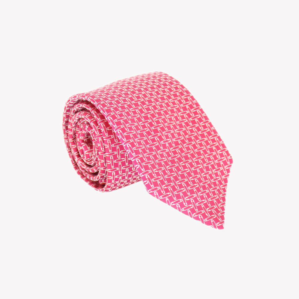 Pink with Safety Pins Tie