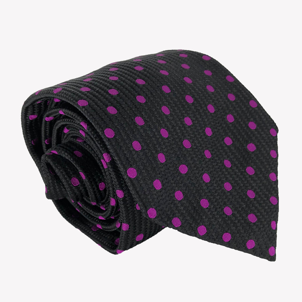 Weaved Black with Pink Dots Tie