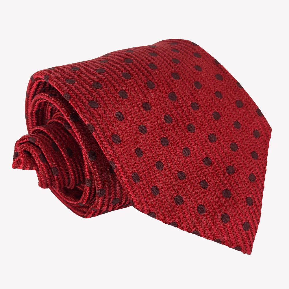 Weaved Red Dotted Tie