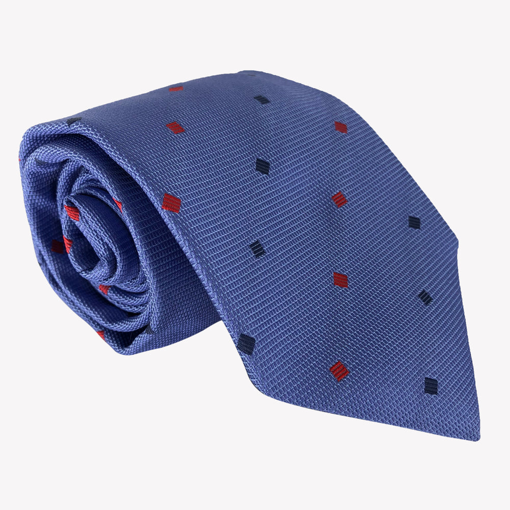 Blue with Red and Navy Squares Tie