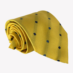 Bright Yellow Tie with Blue Details