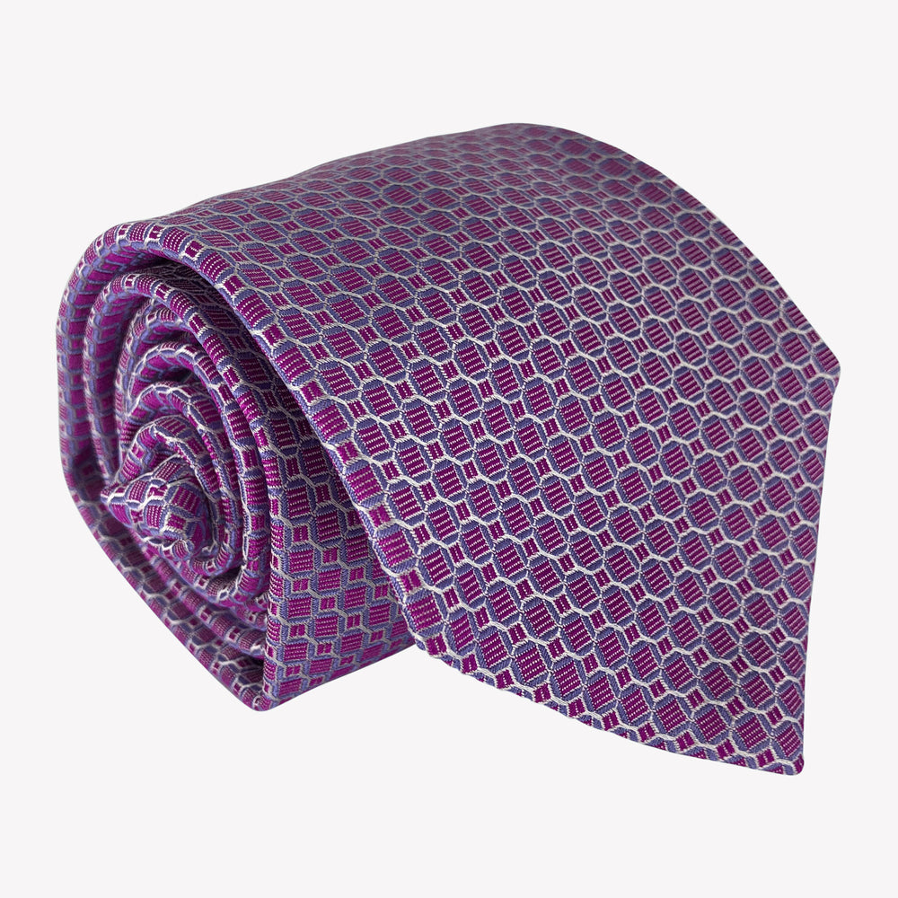 Metallic Purple Tie with Scalloped Details