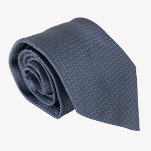 Navy Blue Tie with Lattice Design