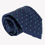 Navy Blue Tie with Turquoise Square Design
