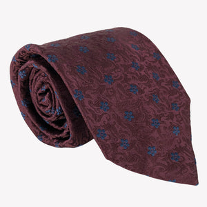 Burgundy Tie with Navy Blue Flowers