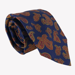 Navy Blue Tie with Copper Paisley Design
