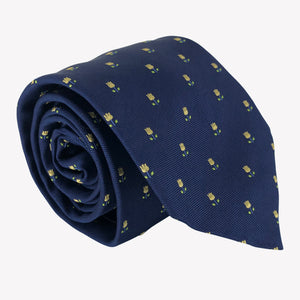 Navy Blue Tie with Yellow Tulip Design