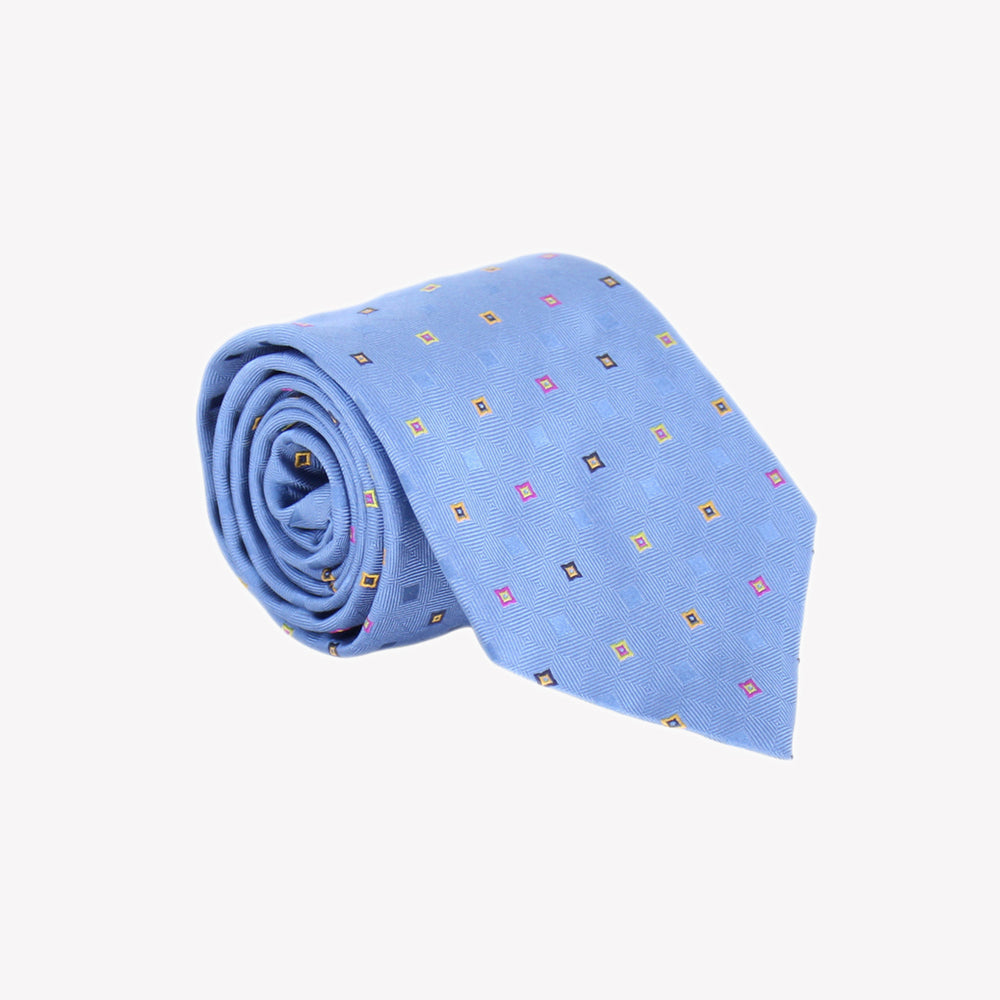 Light Blue with Coloured Squares Tie