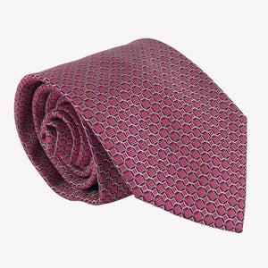 Deep Red Tie with Scalloped Details