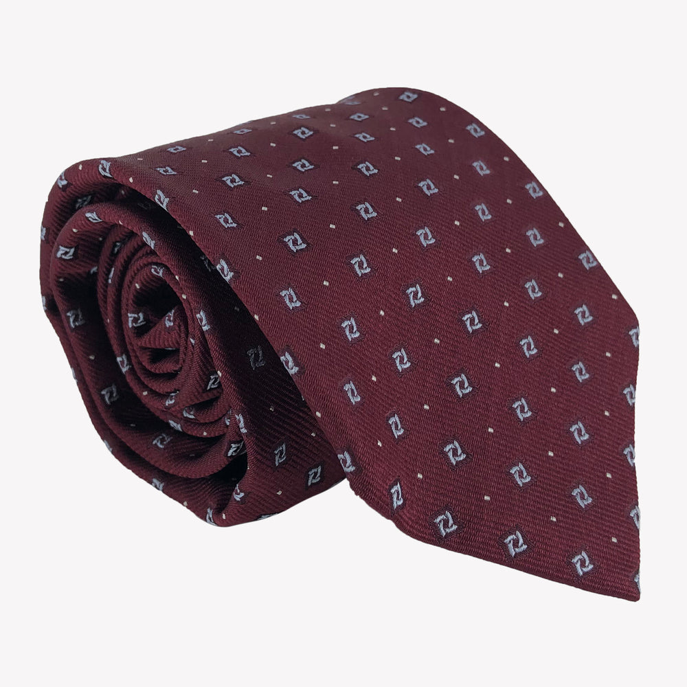 Burgundy Tie with Blue Square Details
