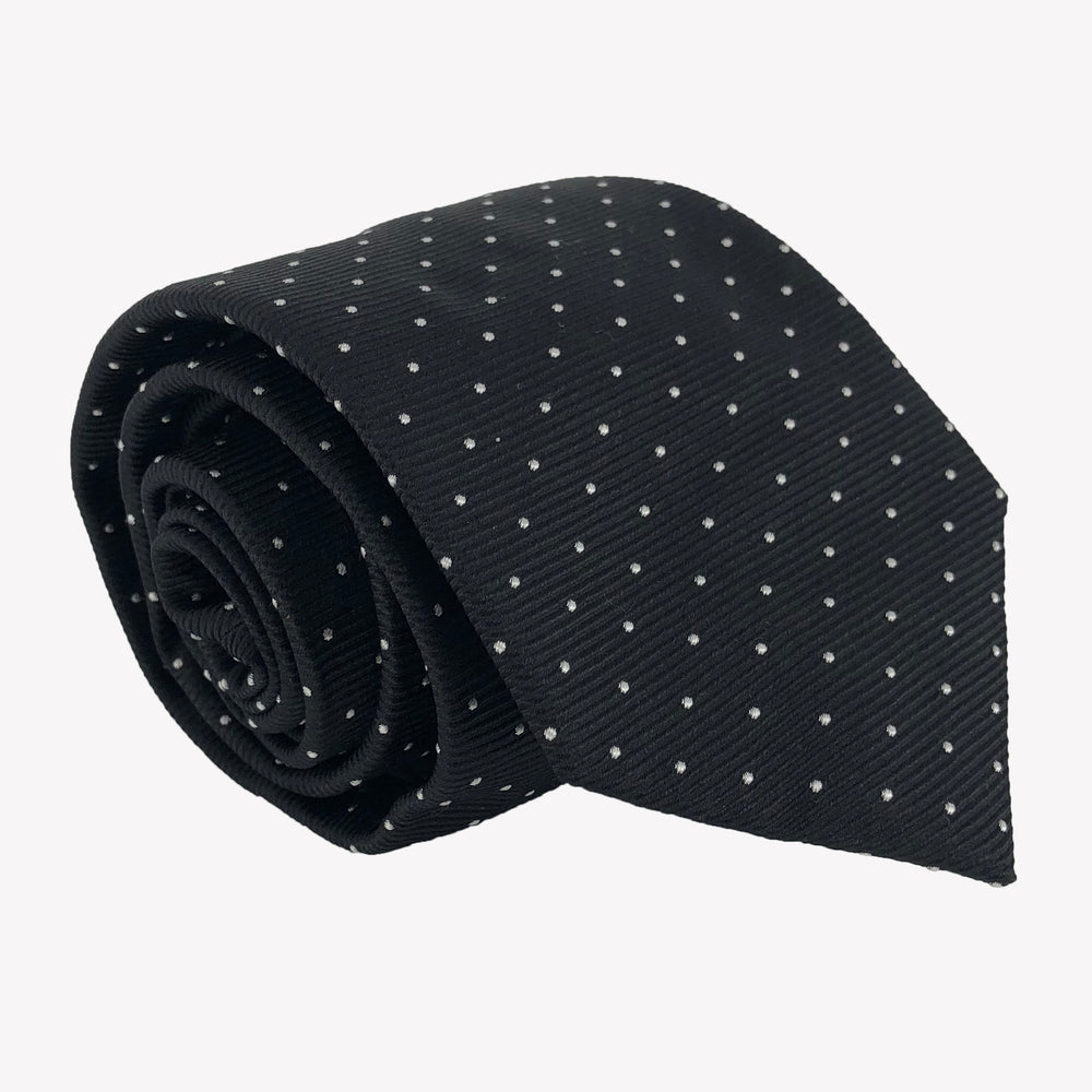 Navy Blue with White Pindots Tie