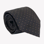 Charcoal Gray with Yellow Pin Dots Tie