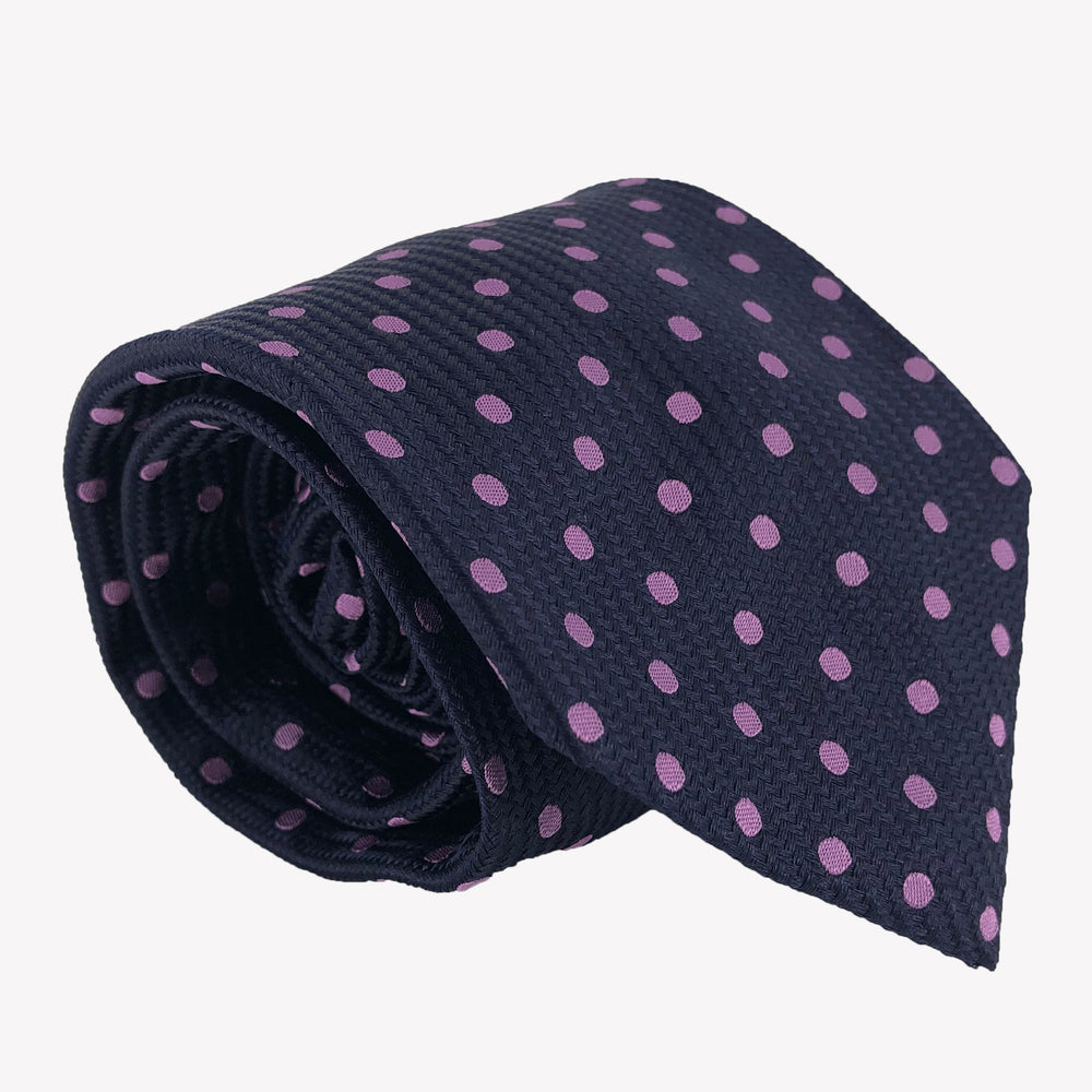 Navy Blue with Pink Dots Tie
