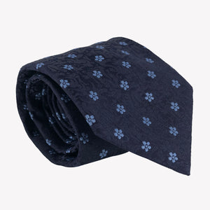 Navy Blue Tie with Blue Flower Detail