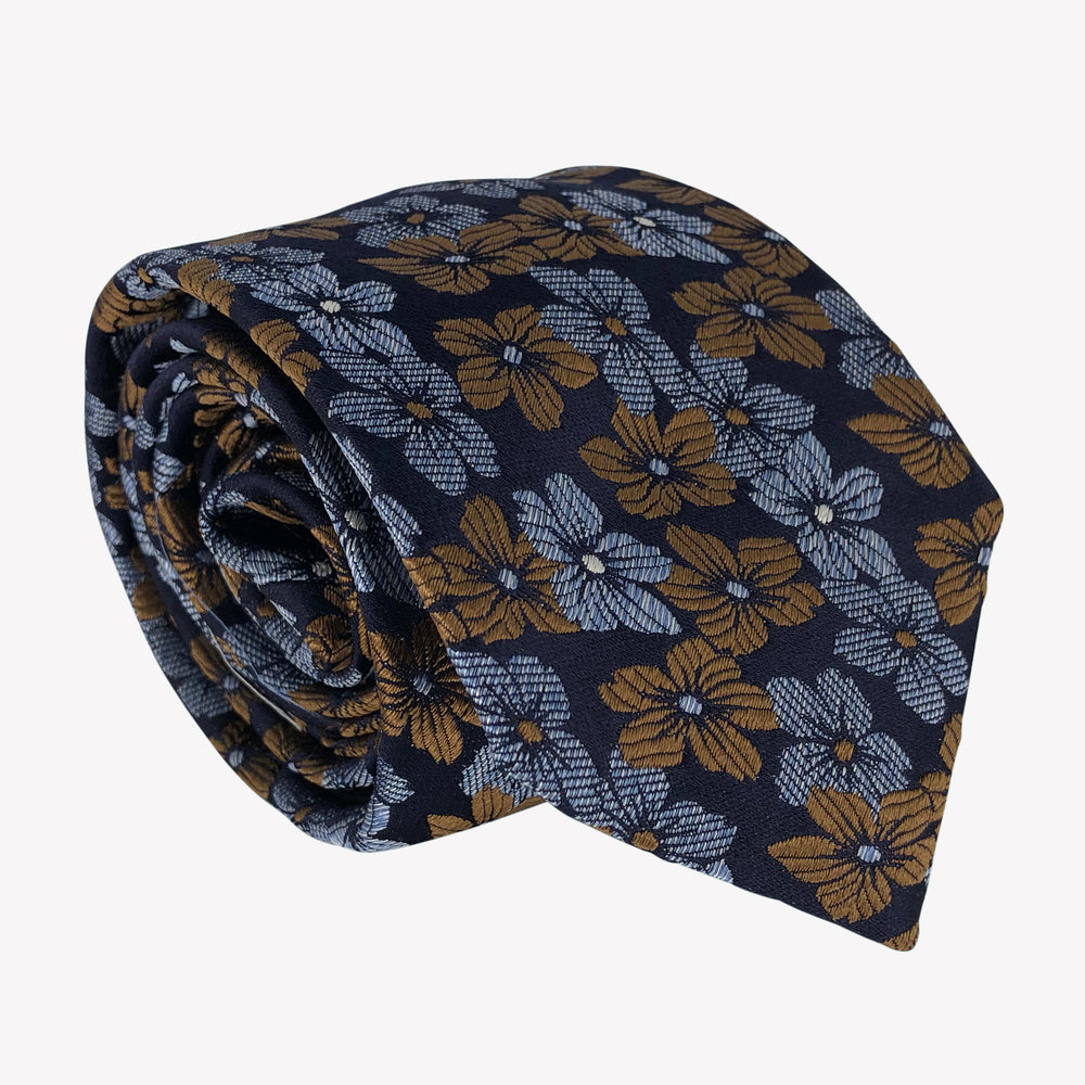 Flower Patterned Navy Blue Tie