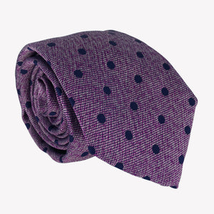 Purple Tie with Navy Blue Dotted Tie