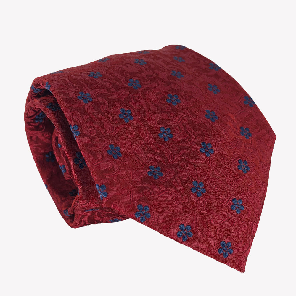 Red with Blue Flowers Tie