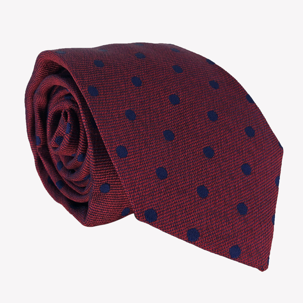 Burgundy with Navy Blue Dotted Tie